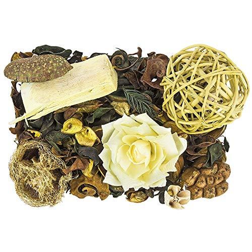Edel-Potpourri | Deko-Set | 200 g | verschiedene duftende Blüten, Zweige, Deko-Elemente (Zitrone)