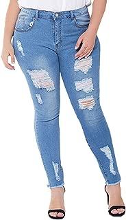 chicrechery Women's Stretch Slim Fit Skinny Leg Jeans Mid Rise Curvy Light Washed Denim Jegging
