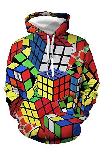 Bilicos Hombres Mujeres Sudadera Abrigo de Manga Larga Outwear Estampado Suéter Tops Suéter Rubik'S Cube Cubo de Rubik