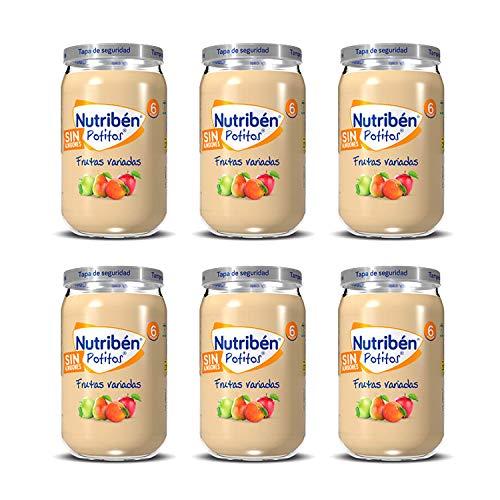 Nutribén Potitos De Frutas Variadas, Desde Los Meses, Pack De 6 x 235gr.