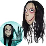 Miminuo Horror Maske Momo Latex Vollmaske mit Langer Perücke gruseliges Mädchen Donnie Darko