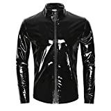 iiniim Men's Shiny Metallic Leather Long Sleeve Stand Collar Lightweight Outwear Jacket Coat (Balck, M)