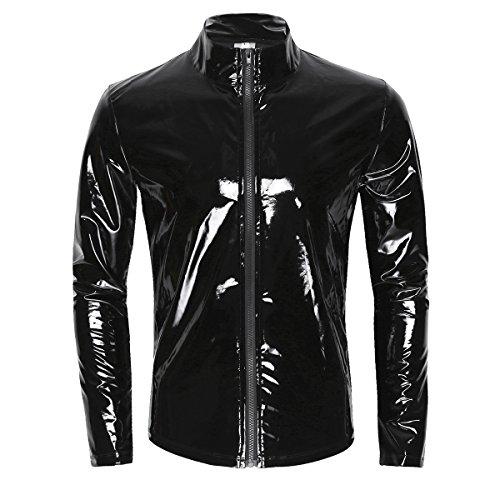 inhzoy Men's Shiny Metallic PVC Leather Zipper Front Latex Rubber Coat Jacket Top T-Shirts Black A Medium