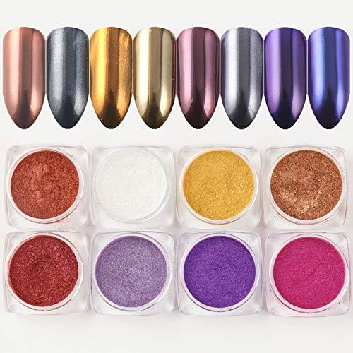 BISHENGYF 8 Fles Rose Gold Nail Spiegel Poeder Eenhoorn Kameleon Nail Art Chrome Mermaid Pigment DIY Manicure Decoraties