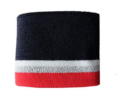 Zierstoff einfach nähen Strickbündchen, Collegebündchen in Marine mit Streifen in Rot/Silber/Weiß, 90 x 6 cm, Marine