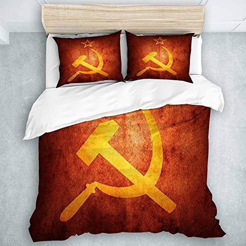 KOSALAER Bedding Juego de Funda de Edredón, Amarillo Bandera Rusa Comunista soviética Revolución Armas envejecidas Artístico, de Almohada de Microfibra,140 x 200cm