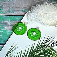 Da zhi 女性幾何シンプル興味深い食品タッセル野菜のためのファッションの新しいかわいい樹脂フルーツペンダントロングピアスペッパーイヤリング Da zhi (Metal Color : Kiwi green)