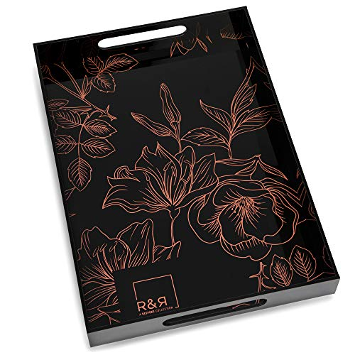 R&R Black Acrylic Tray with Handles - 17 x 12 Beautiful Decorative Tray Perfect as a Serving Tray or as a Coffee Table Tray Spill Proof Vanity Tray for Bathroom