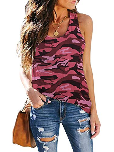 CUQY Womens Tie Dye Shirts Workout Tank Tops Loose Fit Athletic Running T Shirts Red Lips Leopard Print Tops (Red Camo, XL)
