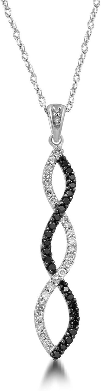 Jewelili 10K White Gold 1/4 cttw Natural White and Black Diamond Pendant Necklace, 20