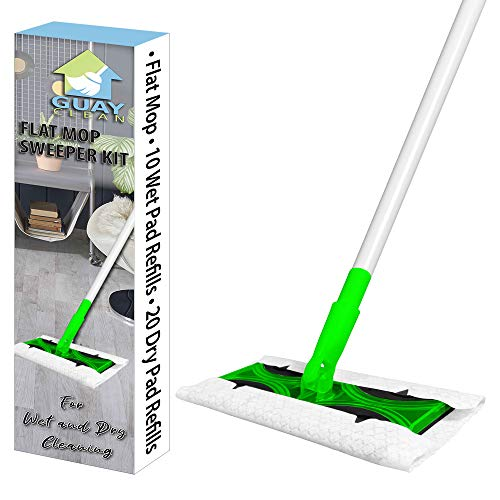 Guay Clean Flat Mop Sweeper Cleaning Kit Set with Adjustable Handle - Includes 10 Wet and 20 Dry Mop Pad Refills Disposable - Home and Office Floor Tile Wood - Green