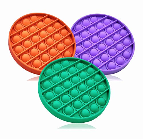 ZNNCO 3PC Push pop pop Bubble Sensory Fidget Toy Autism Special Needs Stress Reliever,Squeeze Sensory Toy, for Kids, Family,and Friends (Round Green+Purple+Orange)