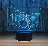 Drum Set 3D Night Light Led Touch Instrumentos musicales Lámpara de mesa 7 colores Usb Lámpara de holograma de interior Regalo del día del padre Drop Ship