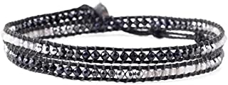 Black Mix and Silvertone Nugget Beaded Black Nylon Wrap Bracelet