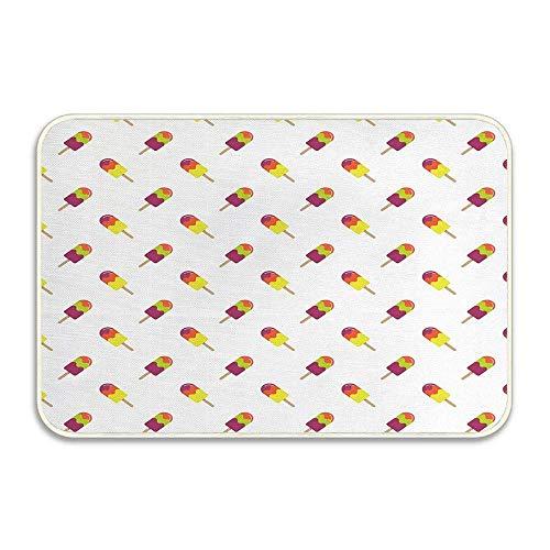 Helado Coloridos bocadillos de verano en palitos Sabor azucarado y refrescante Patrón diagonal Felpudo Antideslizante Alfombra de baño Alfombras de baño absorbentes Alfombras de baño de espuma viscoel