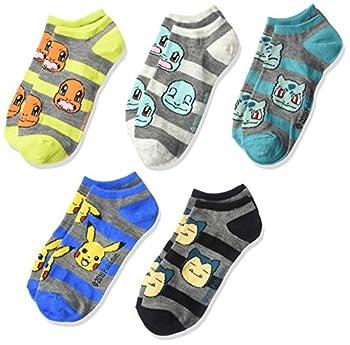 Pokemon Boys  Big 5 Pack No Show Assorted Grey Stripe Sock Size 6-8.5