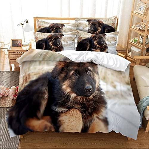 3D di biancheria da letto Cane nero Biancheria da letto in microfibra, con cerniera, set biancheria da letto 3 pezzi - 1 copripiumino--135x200cm + 2 federe 80x80 cm
