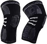 BeGrit Rodillera transpirable de compresión para piernas con estabilizadores laterales almohadilla...