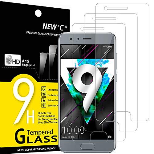 NEW'C Lot de 3, Verre Trempé Compatible avec Honor 9, Film Protection écran sans Bulles d'air Ultra Résistant (0,33mm HD Ultra Transparent) Dureté 9H Glass