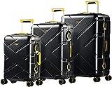 Eminent Gold Juego de Maletas Crossover Set 3 Maletas de Viaje (Cabina + Mediana + Grande) Rígidas Policarbonato & Marco de Aluminio 4 Ruedas Dobles 360° Doble Cierre TSA Negro/Amarillo