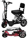 Mini Triciclo Elettrico Pieghevole Scooter Elettrico Portatile al Litio per Adulti per Anziani Disabili Batteria Auto 48 V può per 60 Km Rosso