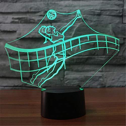 LBJZD luz de noche Luz De Noche Led 3D Jugando Al Voleibol Modelo Usb Lámpara De Noche 3D Lámpara De Mesa Con Interruptor Táctil De 7 Colores Sin Mando A Distancia
