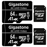 Gigastone 64GB 2-Pack Micro SD Card, 4K UHD Video, Surveillance Security Cam Action Camera Drone Professional, 90MB/s Micro SDXC UHS-I A1 Class 10