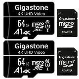 Gigastone Carte Mémoire 64 Go Lot de 2 Cartes, Compatible avec Gopro Drone Caméra Tablette Samsung Sony, Haute Vitesse pour 4K UHD Vidéo, A1 U3 C10 Carte Micro SDXC avec Mini étui et Adaptateur SD.