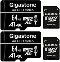 Gigastone 64GB 2-Pack Micro SD Card, FHD Video, Surveillance Security Cam Action Camera Drone Professional, 90MB/s Micro SDXC UHS-I U1 Class 10