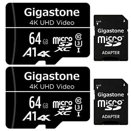 Gigastone Tarjeta de memòria Micro SDXC de 64GB con Adaptador SD, 4K UHD Video, Cámara de acción vigilancia Seguridad(UHS-I A1, Clase10, 2 paquets). Velocidad de Lectura/Escritura hasta 90/20 MB/s.