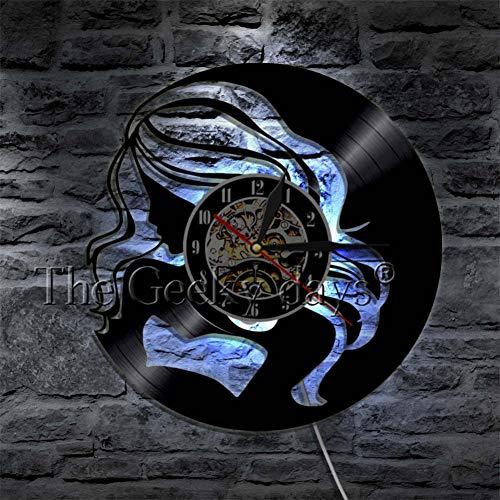 TYFEI Hipsters Cabello Largo Señora Reloj De Pared Moda Compras Chica Disco De Vinilo Reloj Exótico Señora Arte De Pared Reloj De Pared Moderno Regalo para Ella