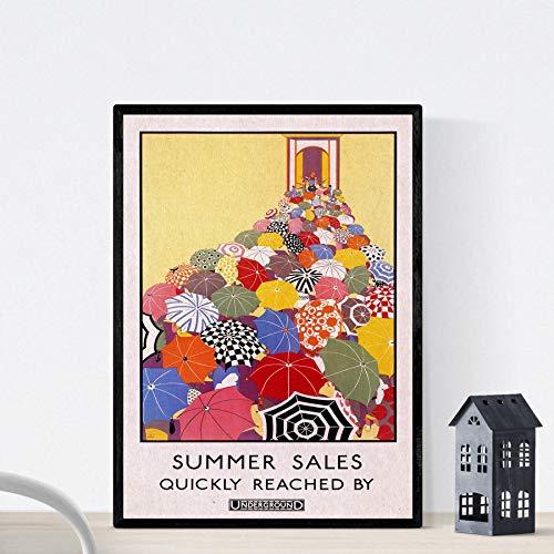 Nacnic Vintage Poster Vintage Poster Europa. Regenschirm in London. A4-Format
