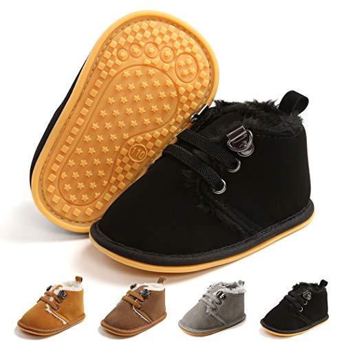 Infant Boots Winter Baby Girl Boy Shoes Rubber Sole Anti-Slip Toddler Snow Warm Prewalker Newborn Boots(0-6 Months M US Infant,B-Black)