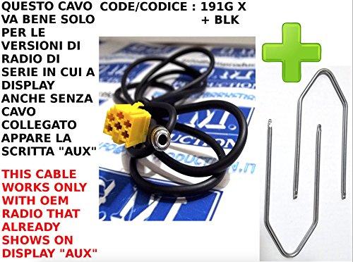 G.M. Production - 191G XP+ chiavi BLK - CAVO INGRESSO AUX LUNGHEZZA 1,5 MT + KIT ESTRAZIONE AUTORADIO BLAUPUNKT PER FIAT GRANDE PUNTO PANDA CROMA LANCIA MUSA Y ALFA …
