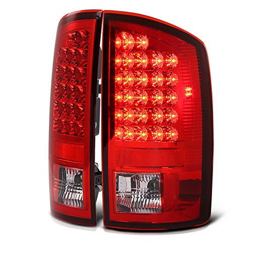 VIPMOTOZ Red Lens Premium LED Tail Light Housing Lamp Assembly For 2002-2006 Dodge RAM 1500 2500 3500 Pickup Truck Driver and Passenger Side Replacement