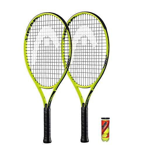 HEAD 2 raquetas de tenis Extreme Junior y 3 pelotas de tenis (opciones de tamaño de 19 a 26 pulgadas)