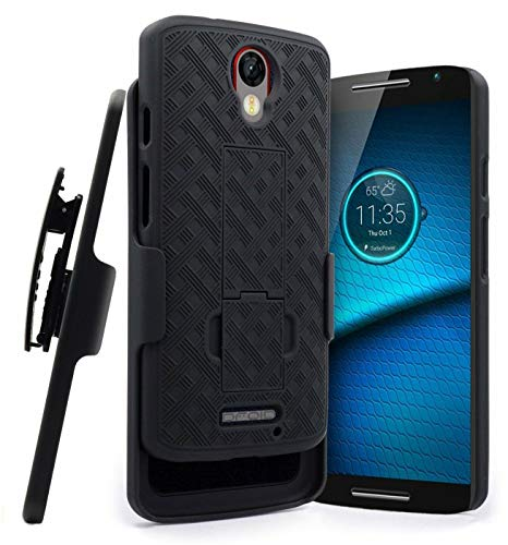 Rome Tech Holster Case with Belt Clip for Motorola Droid Turbo 2 XT1585 - Slim Heavy Duty Shell Holster Combo - Rugged Phone Cover with Kickstand Compatible with Moto Droid Turbo 2 - Black