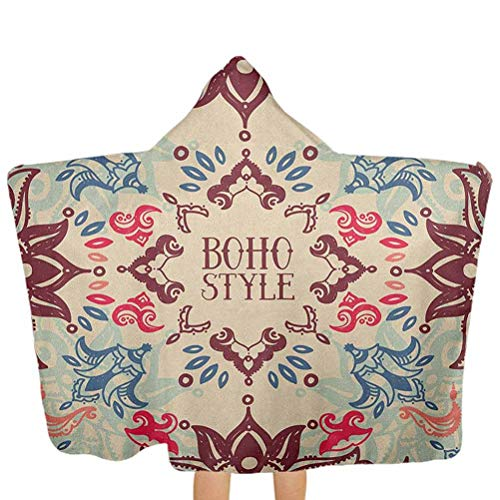 shirlyhome Hooded Poncho Flower Junior Beach Towel Arabesque Ornate Floral Vivid Traditional Boho Style Pattern Maroon Beige Violet Blue Size 30