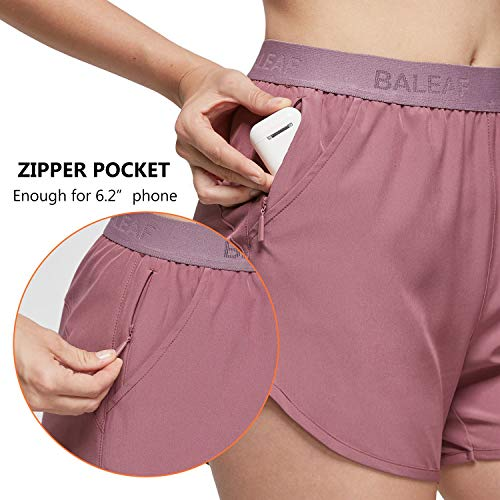 BALEAF Women's Athletic Gym Shorts Tennis with Pockets for Running Workout Sports 3 Inches Purple S