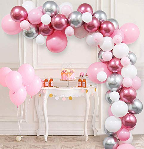 85Pcs DIY Balloons Arch Garland Kit with Latex Pink Shiny Metallic Silver Balloons, Pink and Sliver Winter Wonderland Party Decorations for Girls Baby Shower 1st Birthday Baby Its Cold Outside Party Supplies