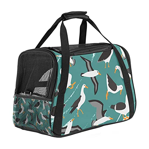 Cute Albatros Birds Pattern Pet Carrier Bag, Portable Tote Bag Top Opening, Removable Mat And Breathable Mesh, Transport Handbag For Dogs And Cats
