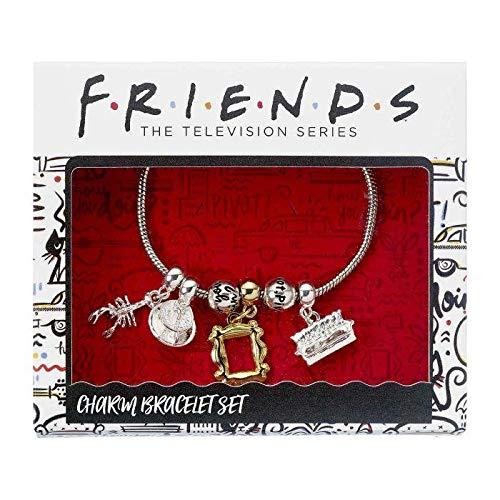 The Carat Shop Friends Serie TV - Braccialetto a Maglia Metallica con Pendendi Placcati Argento - Prodotto Ufficiale