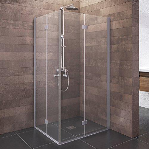 Schulte Duschkabine Alexa Style 2,0 Dreh-Falttür Eckeinstieg, 90 x 90 cm, 192 cm, 5 mm Sicherheitsglas beschichtet, Profile alu-natur, Montage auf Duschwanne oder Fliese