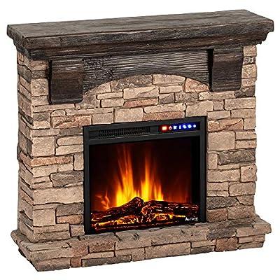 e-Flame USA Kodiak LED Electric Fireplace Stove - Faux Wood and Stone Mantel - Remote - 3D Log and Fire