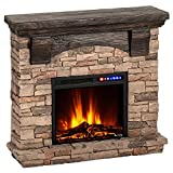e-Flame USA Kodiak LED Electric Fireplace Stove - Faux Wood and Stone Mantel - Remote - 3D Log and Fire