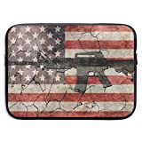 Waterproof Laptop Sleeve 15 Inch, Gun American Flag Business Briefcase Protective Bag, Computer Case Cover for Ultrabook, MacBook Pro, MacBook Air, Asus, Samsung, Sony, Notebook