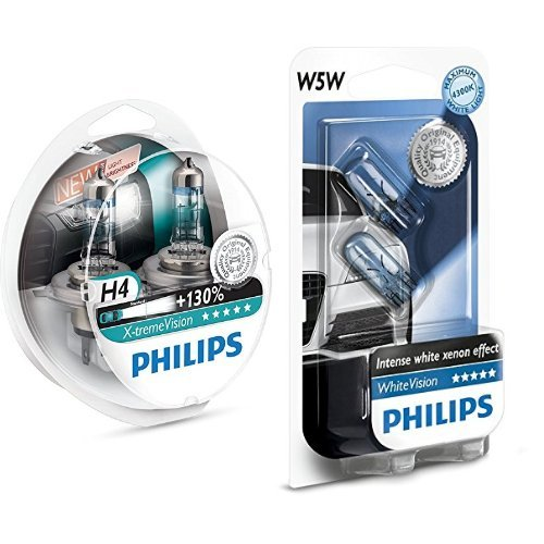 PHILIPS XTREME VISION +130 H4 AMPOULES DE PHARE AVANT ORIGINE (2PCS) 12342XV +S2 + Philips 681372 Ampoules Xenon White Vision 2 W5W, 12 V