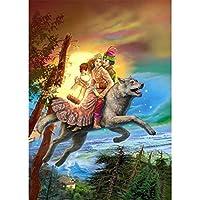 Rui-SyダイヤモンドペインティングキットダイヤモンドスクエアペインティングDiy5Dフルダイヤモンドアート大人の子供用クリスタルクラフト、家族の寝室の壁の装飾ギフトに使用 恋人グレイウルフ
