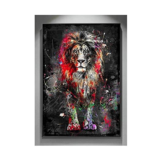 WOSHISHUI Canvas Wall Art Abstrakte Leinwand Malerei Bunte männliche Löwe Wandkunst Poster und Drucke Bilder Home Wohnzimmer Dekor 70x90cm (28x35inch) Kein Rahmen bunt