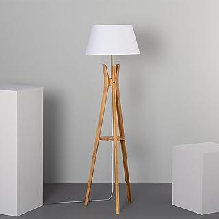 LEDKIA LIGHTING Lampadaire Qaanso 1530x460x460 mm Blanc E27 Bois pour Décoration Salon, Chambre, Cuisine
